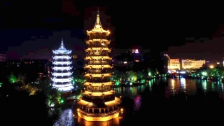 Video : China : Aerial scenes of YangShuo 阳朔 and GuiLin 桂林, GuangXi province