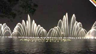 Beautiful musical fountains at the West Lake, HangZhou 杭州