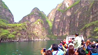 LongQing Xia 龙庆峡 (Great Dragon Gorge) near Beijing. The beautiful LongQing Xia Scenic Area is located 90 kilometers (55 miles) north-west of Beijing.    A great day trip from the city. Besides boating, there are also hiking trails, bungee jumping and zip lines.