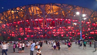Video : China : Panorama of the Olympic Park at night, BeiJing 北京 - video