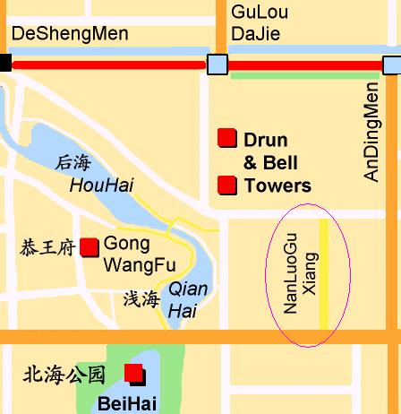 Nanluoguxiang Beijing Map